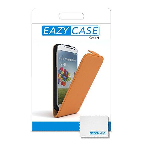 Samsung Galaxy S4 / S4 Neo Hülle - EAZY CASE Premium Flip Case Handyhülle - Schutzhülle aus Leder zum Aufklappen in Schwarz Orange