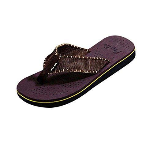 Herren Zehentrenner, Yogogo Sommer Flip Flops Schuhe Sandalen Herren Slipper (43, Braun)