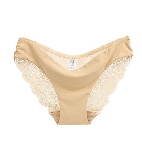 Tonsee Femmes été dentelle culotte transparente Slip coton creux sous-vêtements (S, Beige)