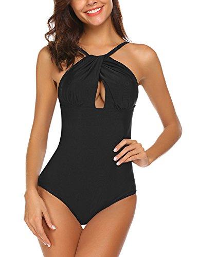 Lucyme Damen Badeanzug One Piece Bademode einteilig Schwimmanzug Swimsuit ohne Bügel Monokini, Schwarz, Gr. Large