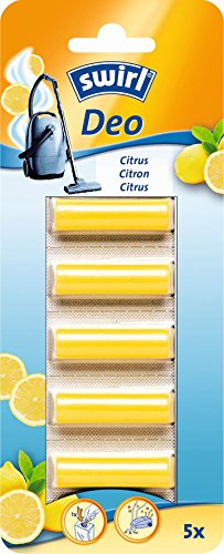 Swirl Staubsauger-Deo-Sticks Citrus, Zum Einlegen in Staubsaugerbeutel, Parfümiertes Duftöl, 5 Stück