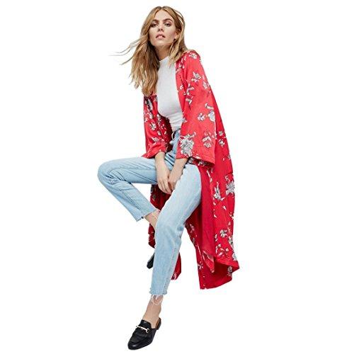 Cardigan Jacke Damen, DoraMe Frauen Neue Mode Kimono Chiffon Strickjacke Sieben Viertel Ärmel Wolljacke Plus Size Tuch Bluse Floral Druck Bluse (S, Rot) (Cardigan Tuch,)