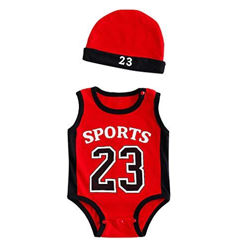 Yuan  Toddler Kids Baby Boys 23 Print Exercise Sleeveless Romper Cap Bodysuit Outfits Ärmellose Sportkleidung mit der Nummer 23 des Jungen + Mütze (Hot Outfits Boy)
