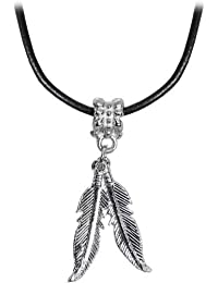 """Body Candy Native American Feather Pendant Leather Choker Necklace, 16"""""""