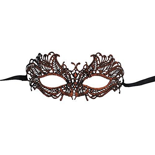 Gespout Halloween Partyzubehör Heißprägen Spitzen-MaskeFür Kostüm MaskeradeKarneval Weihnachten Party Dekoration 19.5 * 9cm (Gold)