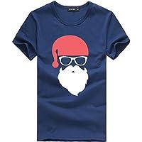 Kinlene Camiseta de Manga Corta de la Camiseta de la Camiseta de Las Camisetas de la impresión de la Navidad de los Hombres