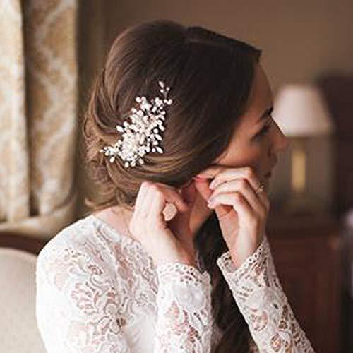 Deniferymakeup Brautschmuck, Haarkamm mit zarten Perlen und Kristallen, Accessoire für Hochzeiten, für die Braut, elfenbeinfarben, Haarschmuck mit Strasssteinen