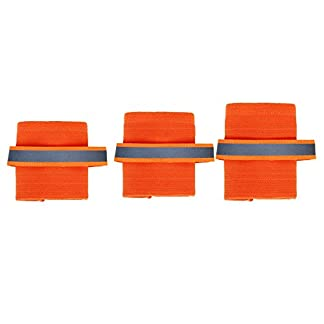 2pcs Medium-Size Dog Safety Shin/Leg Wraps Warmers Protection with Reflective Strip (L, Orange) 2
