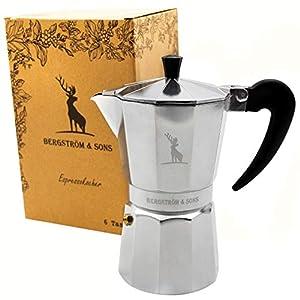 Bergström & Sons Espressokocher Espressokanne aus Aluminium   Camping Kaffeekocher   Moka-Kanne mit einem Fassungsvolumen von 6 Tassen   Inklusive gratis Hanf Bag   Enjoy The Moment