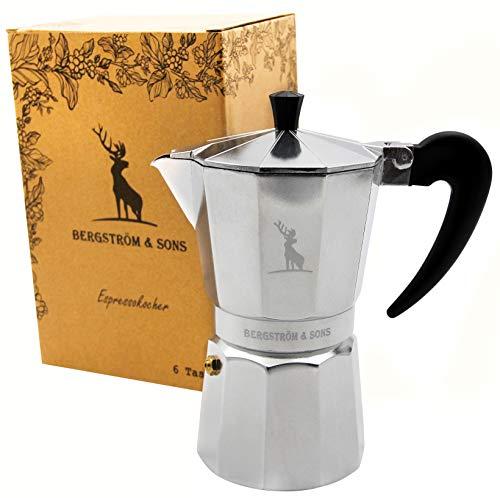 Bergström & Sons Espressokocher | Espressokanne aus Aluminium | Camping Kaffeekocher | Moka-Kanne mit einem Fassungsvolumen von 6 Tassen | Inklusive gratis Hanf Bag | Enjoy The Moment -