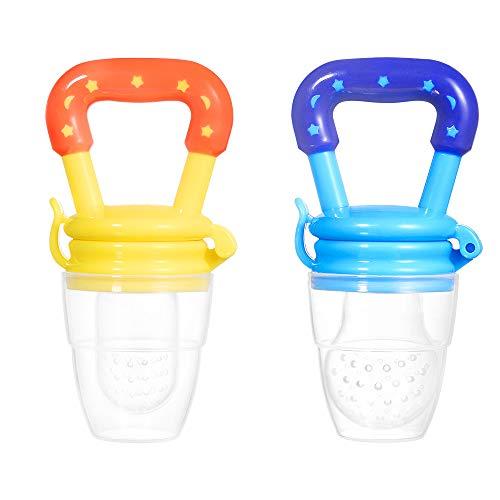 2 Pièces Chargeur de Nourriture Pour Bébé fruits Mangeoire Bébés Sucette Avec 3 Tailles pour Nourrissons Mâcher des Dents Auxiliaires (Bleu, Jaune)