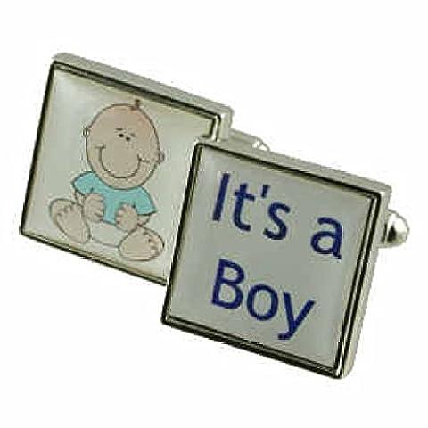 NEW Baby Boy boutons de manchette pour hommes en argent sterling 925massif boutons de manchette + Boîte Message gravé personnalisé gratuit