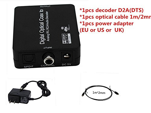 Generic 2.1 Audio Decoder Spdif Coaxial To R/L Dolby Dts Ac3 Digital To2.1 Amplifier Analog Decoder With Dc Cable