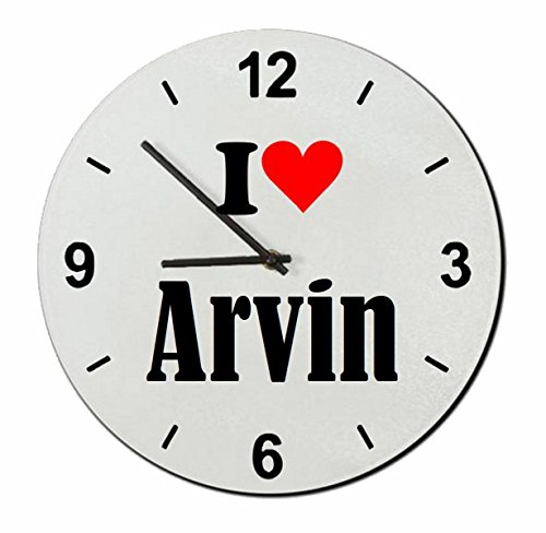 """Regali Esclusivi: Orologi da parete """"I Love Arvin"""", un Grande regalo viene dal Cuore - Ti amo - Orologio vetro - Punte di Natale"""
