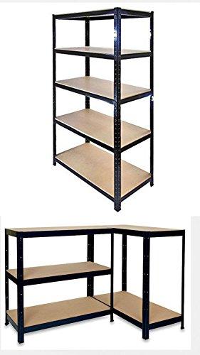 Anaelle-Pandamoto-tagre-Meuble-Rangement-Charge-lourde-en-Mtal-Bois-avec-5-Tablettes-sur-Bureau-Garage-Usine-et-Entrept-etc-Taille-9040180cm-Poids-15kg-Noir