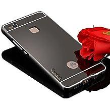 Vandot Premium Funda Para Huawei P9 Lite 5.2 pulgadas Bumper Case del Metal Aluminio PC Ultrafina Espejo Efecto [Fusion Mirror] Trasero Case Cover Protección gota Tecnología de absorción de impactos Carcasa caso - Negro