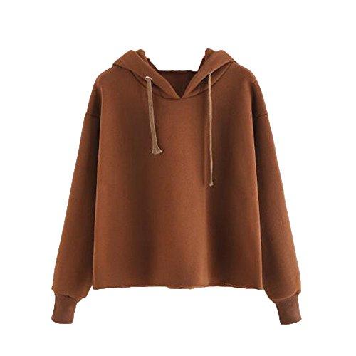 Kapuzenpullover Damen Sunnyadrain Design Baumwolle Reine Farbe Tunika locker Pullover Sweatshirt Tops Lange Ärmel Outerwear Herbst Frauen-Damen