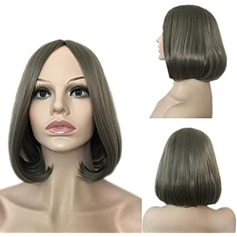 Meydlee Pelucas Cabeza de pera Slim peluca de pelo recto largo mujer cara