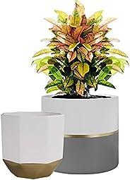 La Jolíe Muse Lot de 2 pots de fleurs en céramique pour intérieur et extérieur
