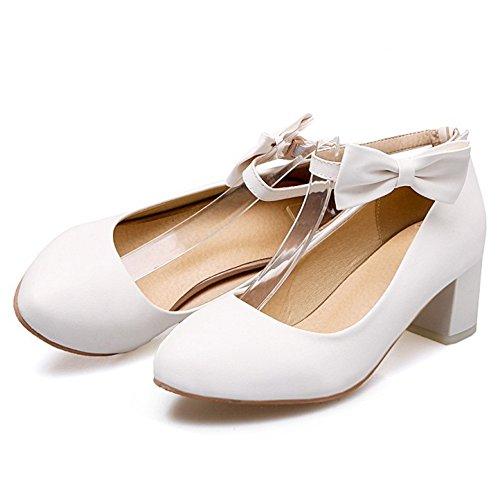 TAOFFEN Femmes Escarpins Mode Bloc Talons Moyen Chaussures De Bowknot 435 Blanc