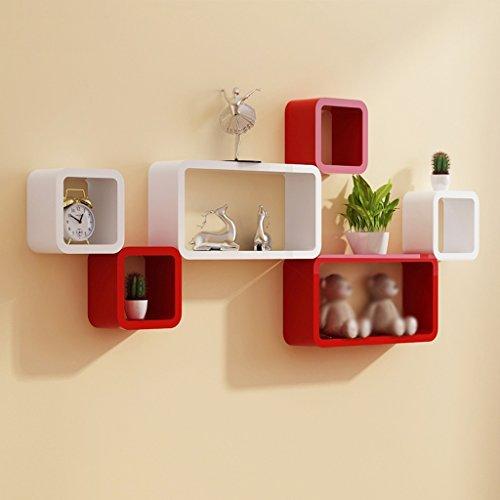 Lingyun- Wandregal Kreative Trennwände Wohnzimmer Hintergründe Regal Schlafzimmer Schränke Gitter ( Farbe : White Red )