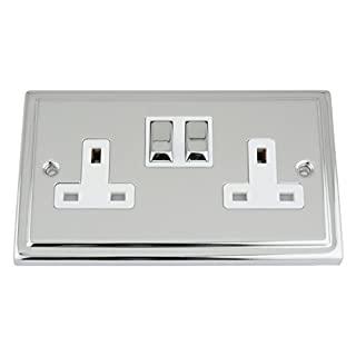 A5 Products Socket 2 Gang - Polished Chrome - Trimline - White Insert Metal Switch - 13A Double Wall Plug Socket