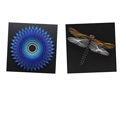 FLAMEER 2 Sets DIY Vögel Nest \u0026 Libelle String Art Kits Für Kinder Erwachsene Handwerk