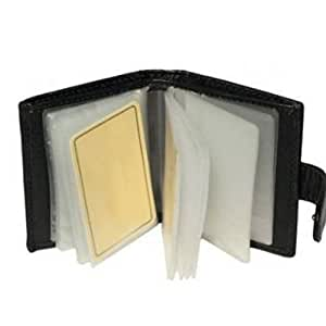Trevisco Genuine Soft Black Leather Credit Card Holder Wallet - 20 Clear Plastic Pockets - 4 Further Card Slots - Popper Fastening