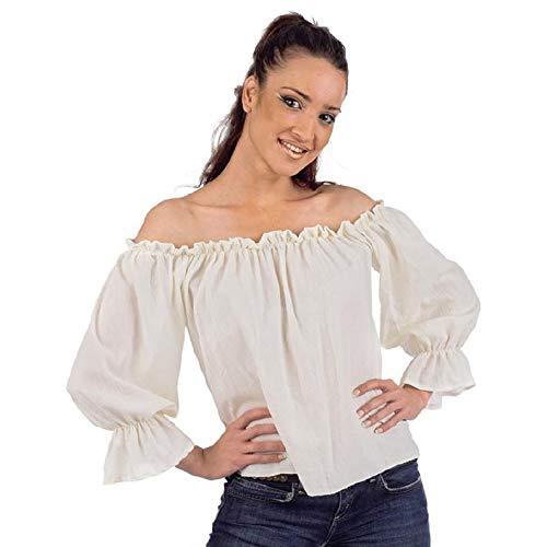 Limit Sport Mascarada NC030 S - Mittelalter-/Piraten-Bluse Kostüm, Größe S, weiß (Bluse Weiße Pirat)