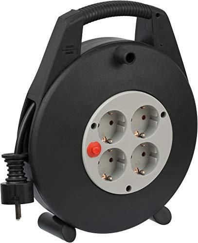 Brennenstuhl Vario Line Kabelbox 4-fach / Mini-Kabeltrommel (Indoor-Kabeltrommel für Haushalt, 10m Kabel, Made in Germany) schwarz/grau
