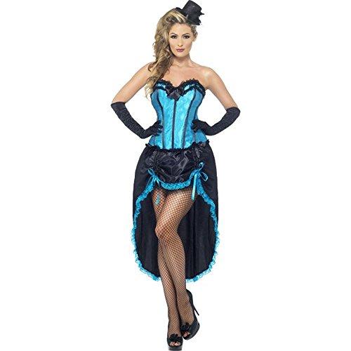 Smiffys sexy Damen Kostüm Burlesque Tänzerin blau Varieté Karneval Show - Varieté Burlesque Kostüm