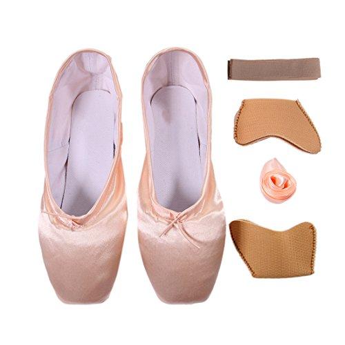 DoGeek Spitzenschuhe Ballet für Damen/Mädchen mit Spitzenschuhe Unsichtbares Band, Gr.-33 EU, Pink