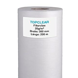 Filtervlies für Vliesfilter | Vliesrolle 200m x 30cm 20g/m² | für alle Koi Teich Vlies-Filter geeignet | hydrophiles wasserdurchlässiges Fleece | 300mm Topclear Filtervlies in Profiqualität
