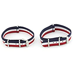 Owfeel Pack of 2pcs Couple Red-white-blue Nylon Watch Band Strap Replacement Watch Belt 22mm 18mm