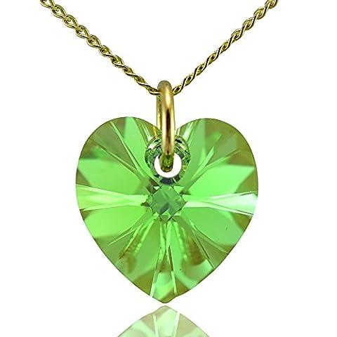 Massif–Collier Femme–Or 9carats et cristal Swarovski vert peridot 40,6cm 45,7cm 50,8cm ou pendentif uniquement–0cm