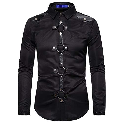 Aoogo Herren Spleißen Punk Steam Business Freizeit Retro Langarm Shirt Top Bluse