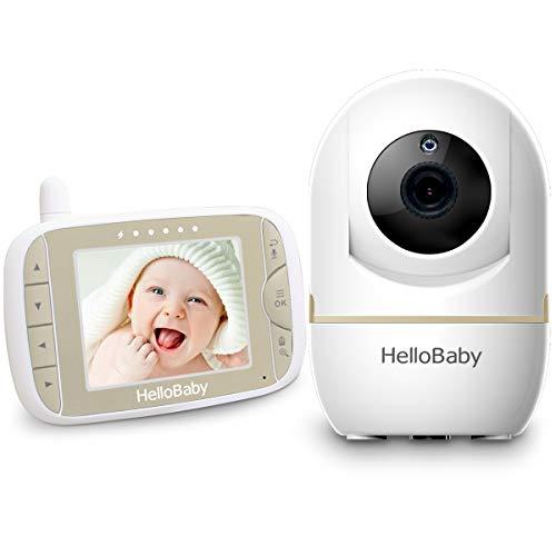 HelloBaby Video Babyphone mit Remote-Kamera Pan-Tilt-Zoom 3,2-Zoll-Farb-LCD-Bildschirm Infrarot-Nachtsicht Temperaturüberwachung Zwei-Wege-Gespräch HB65 (Champagner Gold)