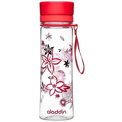 Aladdin AVEO Trinkflasche aus Tritan-Kunststoff, 0.6 Liter, Rot, Auslaufsicher, Durchsichtig, Wasserflasche Fahrradflasche