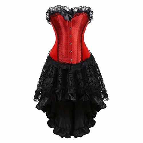 Damen Korsett Kleid Asymmetrie elegant Corsagenkleid Bustier Spitzen Corsage zum schnüren Rock Halloween Burlesque rot Schwarz M