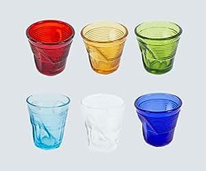 Kaleidos Lot de 6verres à liqueur/café en verre froissé Multicolore