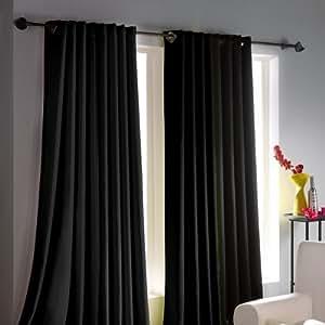 Lot de 2 rideaux occultants à oeillets - Noir - 140 x 260 cm - Unis Anti-tâches nettoyage facile
