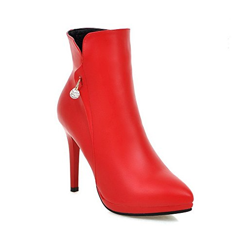 Stylet Dorteil Haut Bas Zip Agoolar Pointu Rouge Femme Bottes 4xx8IqY