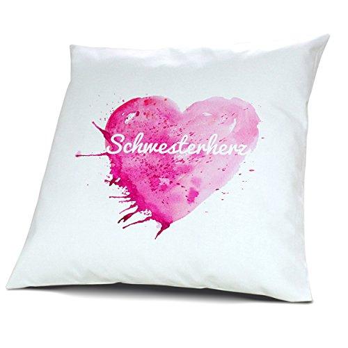 Kopfkissen mit Namen Schwesterherz - Motiv Painted Heart, 40 cm, 100% Baumwolle, Kuschelkissen, Liebeskissen, Namenskissen, Geschenkidee