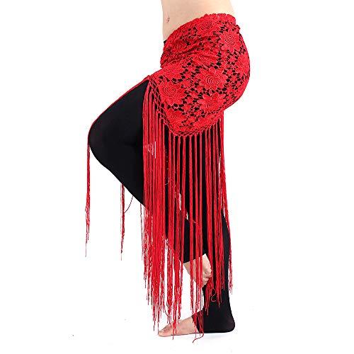 Acqrobe Frauen Bauch Latin Dance Practice Kostüm lange Quasten wickeln Hüftrock ()