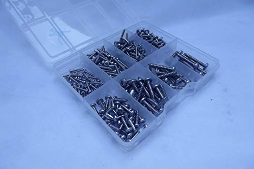 230 varios A2-70 Pozidriv de acero inoxidable en un compartimento tornillos rosca...