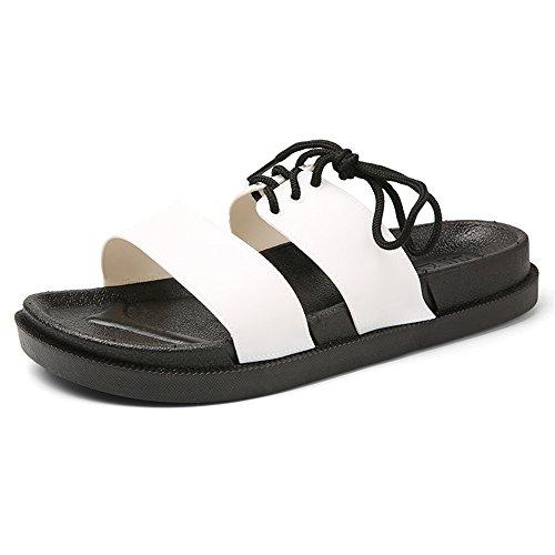 ZHOUQINMEI Männer und Frauen Hausschuhe Casual New Anti - Rutsch - Verschleißfeste Thick Bottom Drag britischen Stil Sandalen (Color : Weiß, Größe : 36 EU) (Große Womens Pflege Schuhe)