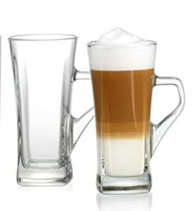 latte macchiato glas georgina mit henkel 330ml amazon. Black Bedroom Furniture Sets. Home Design Ideas