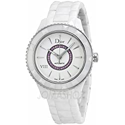 Christian Dior Dior VIII Automatic White Ceramic & Steel Womens Watch Pink Sapphires CD1245EFC001