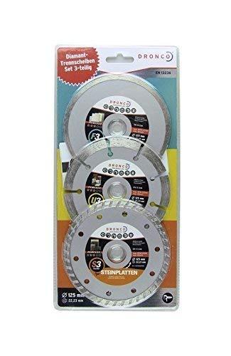 Diamanttrennscheiben-Set 125mm universal , 3-teilig, für Beton, Stein, Fliesen, Baumaterial, Diamanttrennscheibe