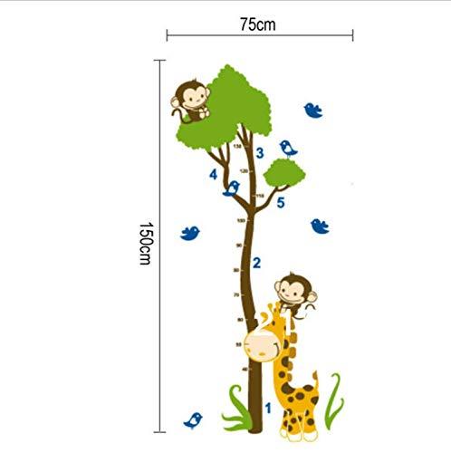 Xqwzm Giraffe Monkey Tree Sticker Kids Growth Chart Height Tower Growth Measure Wall Stickers Grow Up